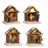 Market Stalls, Set of 4 Assorted Stalls, Battery Operated Only