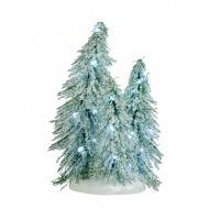 3 Snowy Trees Clustered on a Base, White LED Light, Battery Operated, 19cm