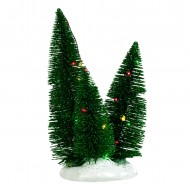 3 Trees Clustered on a Base, Multicolour LED Lights, Battery Operated, h19cm