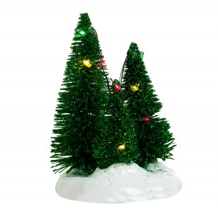 3 Trees Clustered on a Base, Multicolour LED Lights, Battery Operated, h12cm