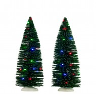 Bristle Tree, 2 pieces, Multicolour LED Lights, Battery Operated, h22.5cm