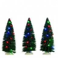 Bristle Tree, 3 pieces, Multicolour LED Lights, Battery Operated, h14.5cm