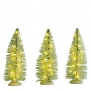 Frosted Tree, 3 pieces, Warm White LED Lights, Battery-Operated, h14.5cm