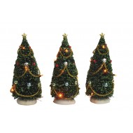Christmas Tree with Flashing Lights, 3 pieces - Battery Operated - h15cm