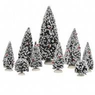 Snow Covered Evergreen Trees, Assorted sizes, 9 pieces