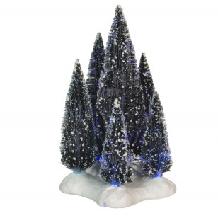 6 Cluster of Tree on Base, Fibre Optic Lights, Battery Operated, h19cm