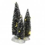 3 Cluster of Trees on Base with White LED Lights, 19cm  Adapter Ready