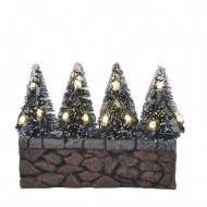 Bristle Trees on Stone Wall, LED lights, Battery Operated, H7.5cm - l10xw2,5xh7,5cm