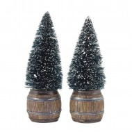 Christmas Tree in Barrel, 2 pieces, H10cm