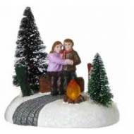 Couple by Fireplace, Battery Operated- Not Included - h10.5cm
