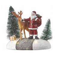 Santa with Reindeer, Battery Operated- Not Included - h10.5cm