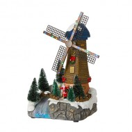 Windmill Scenery, Animated, Battery Operated - Batteries Not Included, h30cm