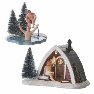 Christmas Time Sauna Ritual, Battery Operated, 3V Adapter 1013893 Ready, Set of 2 - h11cm