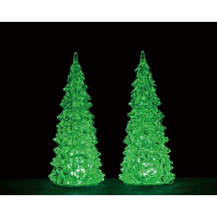 CRYSTAL LIGHTED TREE, 3 COLOR CHANGEABLE, MEDIUM, SET OF 2, B/O (4.5V)