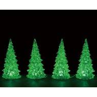 CRYSTAL LIGHTED TREE, 3 COLOR CHANGEABLE, SMALL, SET OF 4, B/O (4.5V)