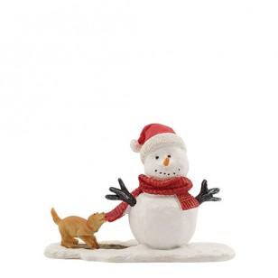 Puppy Teasing Snowman