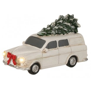Vintage Volvo 122s Wagon White, Battery Operated, Lighted Headlights