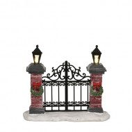 Lighted Iron Wrought Fence Gate, B.O., Adapter Ready