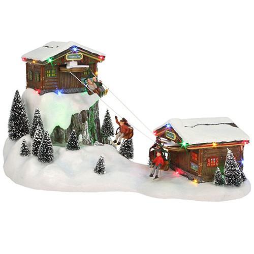 Christmas Village Ski Lift.Ski Lift Animated Adapter Included H23 5cm Christmas