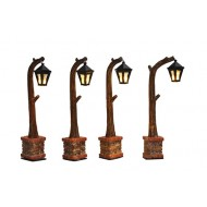 Wooden Street Lantern, Set of 4, B.O. Adapter Ready, h10.5cm