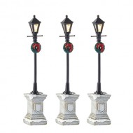 Town Street Lantern with Base, Set of 3, B.O., Adapter Ready, h14cm
