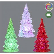 Color Changing Crystal Tree, Whi/Grn/Red, Set of 3, 11cm, Battery Operated