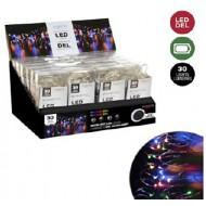 Microdot Mini LED Light, 30 Multi Color Lights, 10' Long, Battery Operated