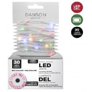 Microdot Mini LED Light String, 30 Multi Color, 10' Long, Battery Operated
