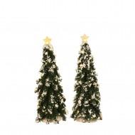 Snowy Conifer, White Lights, Set of 2, H25cm