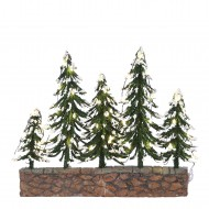 Snowy Trees on Stone Wall, Warm White Lights, Adapter 1095287 Ready