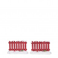 Red Fence, Set of 2, h4cm