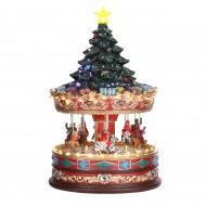 Carousel with Christmas Tree, Music, Adapter Included, h35cm