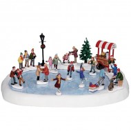 Village Skating Pond, with Sound, Set of 18, with 4.5V Adaptor
