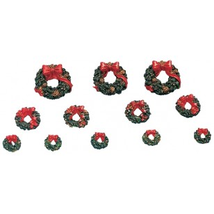Wreaths with Red Bows, Set of 12
