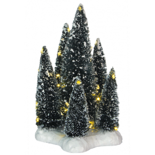 6 Trees on Base with Warm White Lights, Battery Operated, Adapter Ready, H19cm