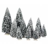 Snowy Evergreen Trees, Set 12 Assorted Sizes