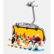 JAEGERNDORFER SKI FIGURINES WITH SNOWBOARDS, SET OF 6, PLASTIC, G SCALE