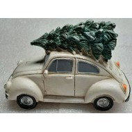 Bringing Home the Tree on our White Beetle, Lighted Headlights, Battery Operated