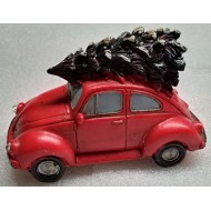Bringing Home the Tree on our Red Beetle, Lighted Headlights, Battery Operated
