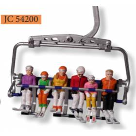 Sitting Figurines with Skis, Set of 6, Plastic, G Scale