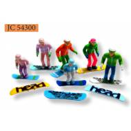 Snowboarding Figurines, Set of 6, Plastic, G Scale