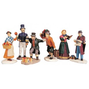 Townsfolk Christmas Figurines, Set of 6